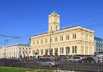 Saint Petersburg–Moscow Railway - Leningradsky railway station (1851) in Moscow, the southern terminus of the line