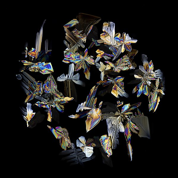 Crystals of dried Coca-Cola: Individual rainbow-colored crystals distributed in a globe-pattern on a black background.