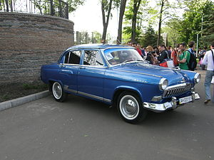 GAZ Volga - The second generation featured a more natural fascia. This example has the GAZ-M-21U additional trim, which includes chrome on the grille, front window frame and side window sills.