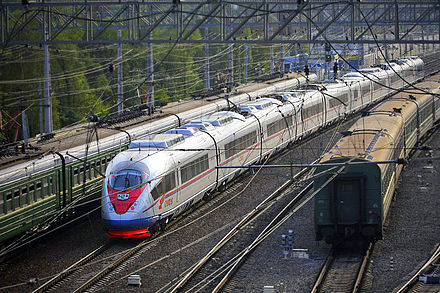 The Sapsan high-speed train runs between Moscow and Saint Petersburg Sapsan v Sankt-Peterburg.jpg