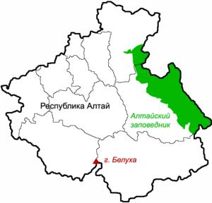 Altai Nature Reserve - Location of Altai Zapovednik (in green) in the northeast of the Altai Republic