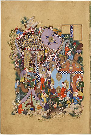 Persian miniature - Camp scene from late in the classic period, with no frame.  Majnun (at top wearing orange) spies on his beloved Layla (standing in tent doorway)