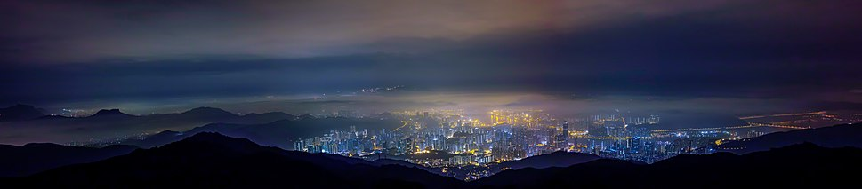 View from Tai Mo Shan overlooking Kwai Chung and Tsing Yi. The Tsing Ma Bridge can be seen at the far right.