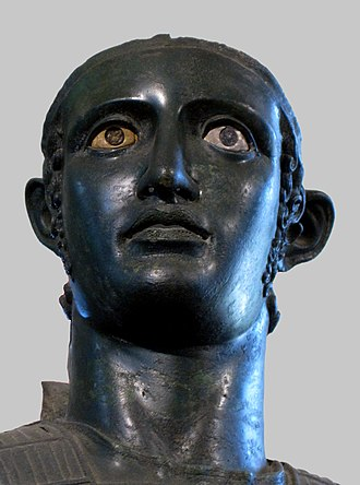 "Mars of Todi - Detail of the warrior's ""large, empty face,"" as described by Otto Brendel"