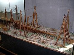 1/40th Scale model of a 118-gun ship of the Océan class under construction