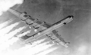 "11th Wing - 11th Bombardment Wing Convair B-36J-5-CF Peacemaker 52-2225 showing ""Six turnin', four burnin"", 1955"