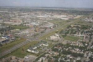 16 Avenue N (Calgary) - Looking east along 16 Avenue in northeast Calgary