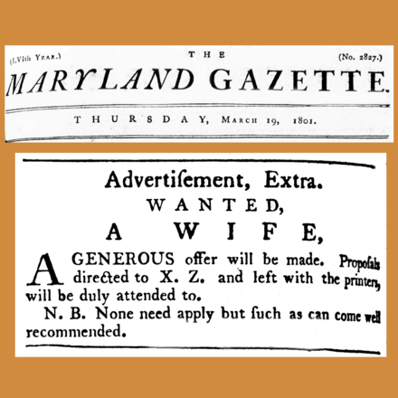 "A ""Wife Wanted"" ad in an 1801 newspaper (Maryland, U.S.) ""N.B."" means ""note well"". 18010319 Wife wanted ad - Maryland Gazette.png"