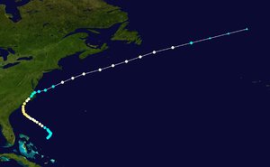 SS Central America - Image: 1857 North Carolina hurricane track