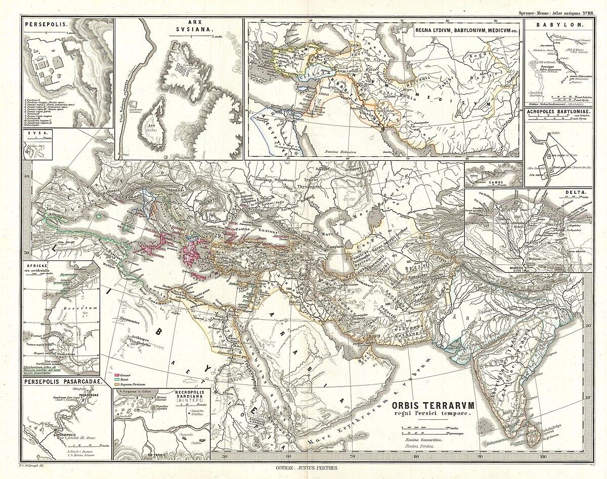 File 1865 Spruner Map Of The World Under The Persian Empire Geographicus Orbisterrarumpersici Spruner 1865 Jpg Wikimedia Commons