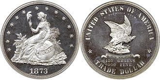 Joseph A. Bailly - 1873 United States Trade Dollar. Design and carving attributed to Bailly.