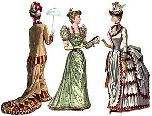 Ball gown - The dress on the left is a good representation of a gown from circa 1880.