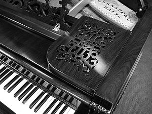 Wm. Knabe & Co. - Detailed music rack of a Knabe grand piano, made in 1884