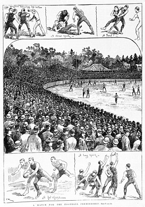 Essendon Football Club - Scenes from the 1891 VFA Premiership Match in which Essendon defeated Carlton