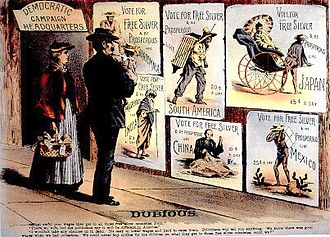 Panic of 1896 - Republican campaign poster from 1896 attacking free silver.