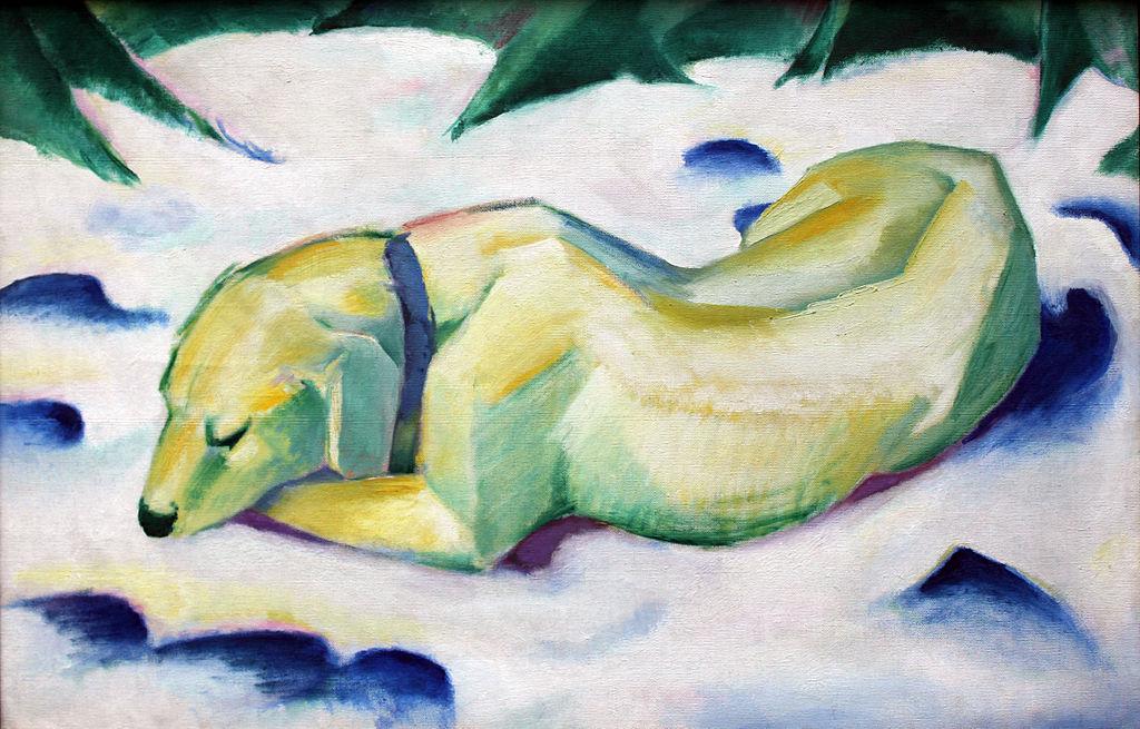 1911 Marc Liegender Hund im Schnee anagoria