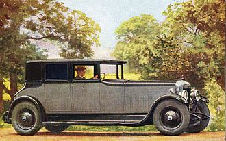 Daimler Double-Six sleeve-valve V12 - The engine of this Daimler saloon de luxe is the new 12-cylinder Daimler sleeve valve unit. The coachwork is in three shades of grey.