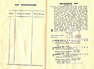 Racecard - A race book showing race conditions and starters in a Melbourne Cup.