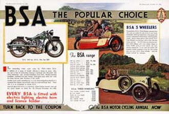 BSA cars - 1935 magazine advert for the BSA range of motorcycles and 3-wheeler cars