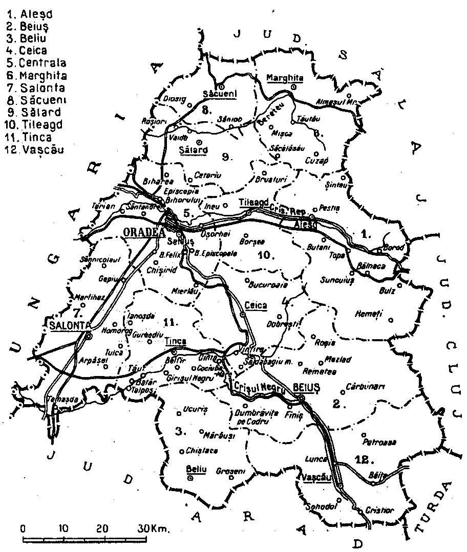 1938 map of interwar county Bihor