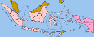 Indonesian legislative election, 1955 - The electoral regions Indonesia was divided into for the 1955 elections