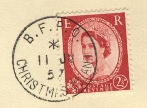 British Forces Post Office - A British Wilding series postage stamp used at a BFPO on Christmas Island in 1957.