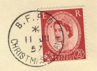 Military mail - A British Wilding series postage stamp used at a BFPO on Christmas Island in 1957.