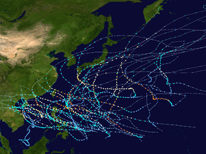 1971 Pacific typhoon season - Image: 1971 Pacific typhoon season summary map