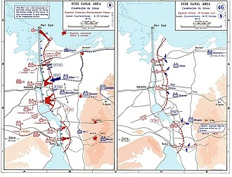 Bar Lev Line - Maps showing the Egyptian offensive and the Israeli counter-offensive on the Suez front. The Bar Lev Line forts are marked on the first map.