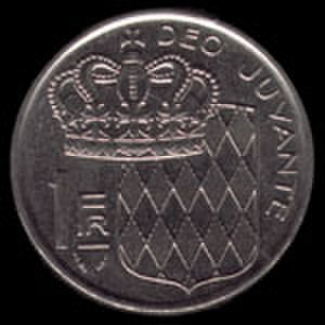Monégasque franc - Image: 1Franc Monaco 1978pile