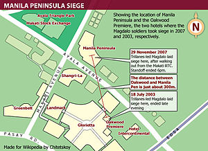 Manila Peninsula siege - Location of Oakwood Premiere and The Peninsula Manila in Makati. These hotels had become the location of the Magdalo mutiny of 2003 and 2007, respectively.