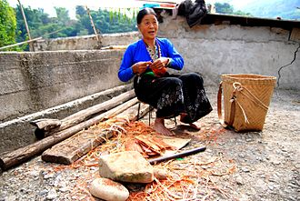 Tai Dam people - A Tai Dam lady in Laomeng village, Jinping Miao, Yao, and Dai Autonomous County, Yunnan Province, China.