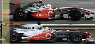 2010 Formula One World Championship - The 2010 cars were 20-22cm longer than the 2009 versions because of the larger fuel tank.