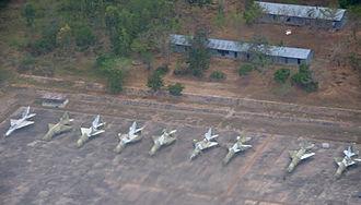 Mwanza Airport - MiG-21 parked at Mwanza AFB