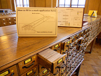 Library catalog - The card catalogue in Manchester Central Library