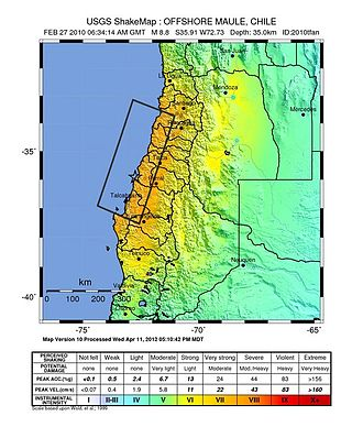 2010 Chile earthquake - USGS shake map of the earthquake
