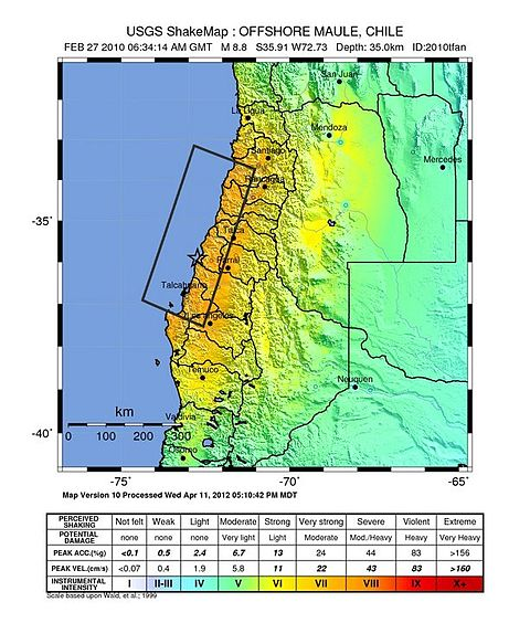 USGS shake map of the February earthquake.