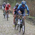 2012 Paris-Roubaix, Early Break- Michael Morkov, Kenny DeHaes, Aleksejs Saramotins, Bert Jan Lindeman (6911700980).jpg