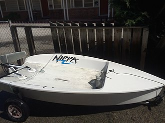 Nippa (dinghy) - The Nippa Dinghy after many years in storage in Santa Cruz, California. This boat is believed to be the first Nippa exported to the US.
