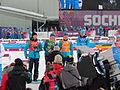2014 WOG Biathlon Women Relay Flower Ceremony - Ukraine 03.JPG