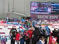 2014 WOG Biathlon Women Relay Flower Ceremony 03.JPG