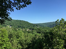 2016-06-18 09 18 08 View of Bloomington, Garrett County, Maryland from West Virginia State Route 46 just across the North Branch Potomac River in Mineral County, West Virginia.jpg