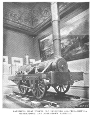 "Henry Roe Campbell - Matthias Baldwin's first steam locomotive (2-2-0), ""old ironsides"", delivered to the Philadelphia and Germantown Railroad in 1832."
