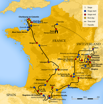 Map of France showing the showing the path of the race going counter-clockwise.