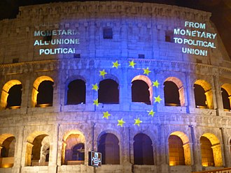 Treaty of Rome - One of the events in preparation of the 60th anniversary: projection on the Colosseum by the JEF