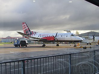 Norwich Airport - A Loganair Saab 340 parked at the gate at Norwich. Loganair is one of the airport's largest scheduled operators, offering flights to Edinburgh, Manchester and Jersey.