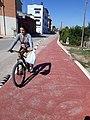 2018 09 28 Ciclista per la Via Xurra a Meliana abans de les obres de l'Anell Verd Metropolità.jpg