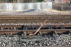2018 at Gobowen station - yard point lever.JPG
