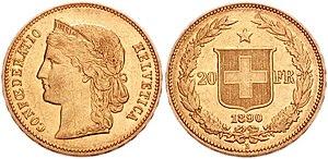 Vreneli - Switzerland AV 20 Francs (21mm, 6.47 g, 6h). Bern mint. Dated 1890.