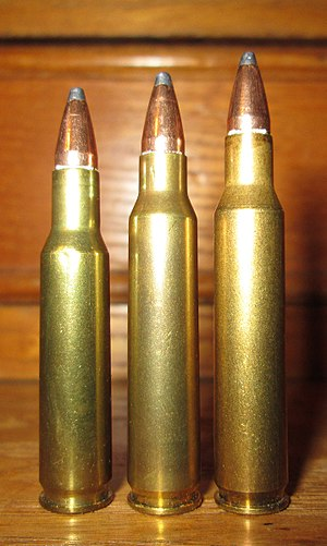 .223 Remington - From left: .222 Remington, .223 Remington and .222 Remington Magnum